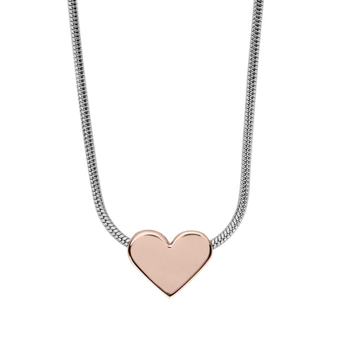 Katrine Two-Tone Heart Pendant Necklace
