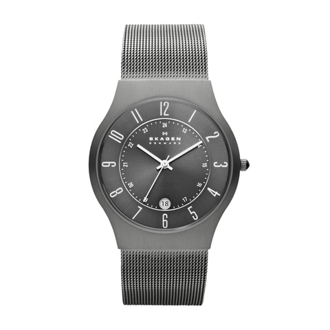 Grenen Titanium and Gray Steel-Mesh Watch