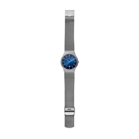 Grenen Titanium and Gray Steel-Mesh Blue Dial Watch