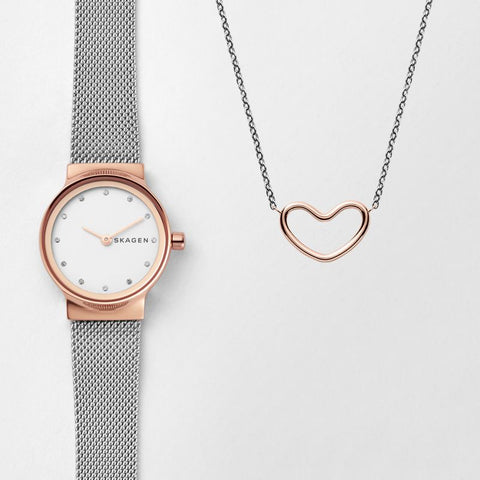 Freja Two-Tone Steel-Mesh Watch and Katrine Necklace Gift Set