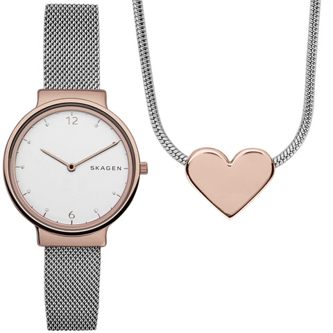 Ancher Steel-Mesh Watch and Katrine Necklace Box Set