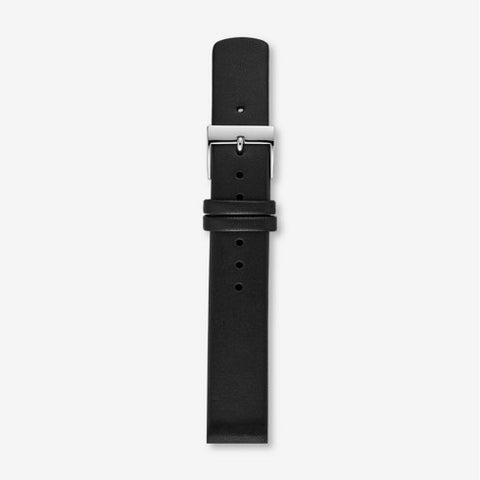 16mm Interchangeable Leather Strap, Black