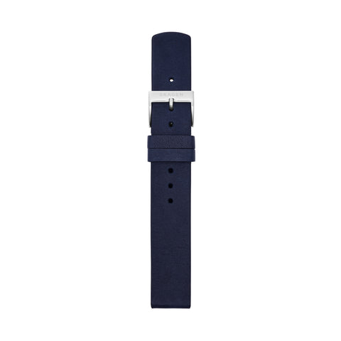 16mm Standard Leather Strap, Navy Blue