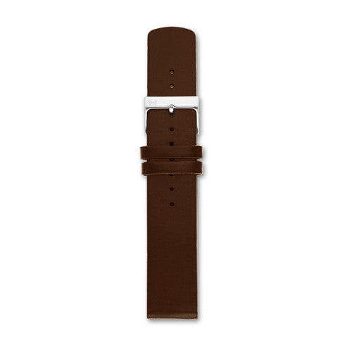 20mm Standard Leather Watch Strap, Dark Brown