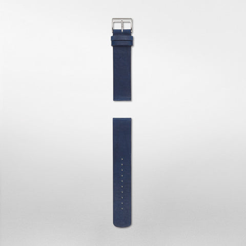 20mm Standard Leather Watch Strap, Navy Blue