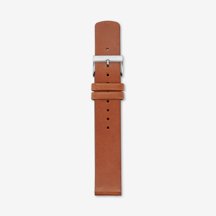 18mm Standard Leather Watch Strap, Brown