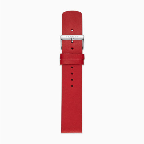 20mm Standard Leather Watch Strap Red