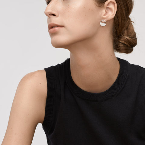 Agnethe Silver Tone and Mother of Pearl Stud Earrings