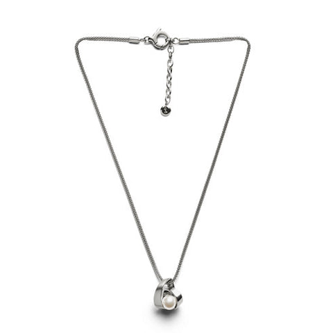 Agnethe Pearl Silver Tone Pendant Necklace