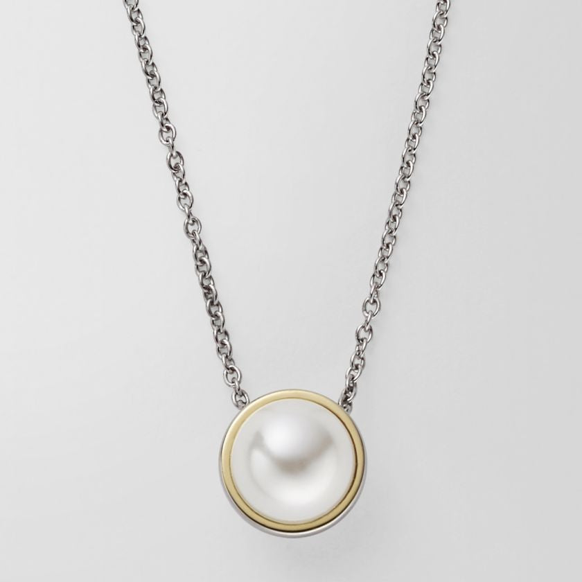 Agnethe silver tone pearl pendant necklace skagen agnethe silver tone pearl pendant necklace mozeypictures Gallery