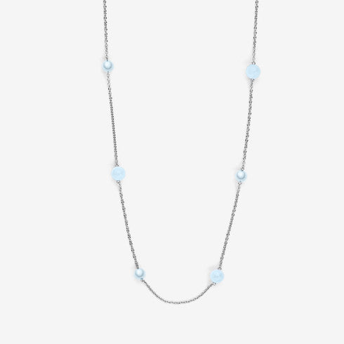Sea Glass Silver-Tone Long Station Necklace