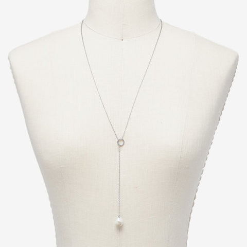 Agnethe Silver-Tone Pearl Y Necklace