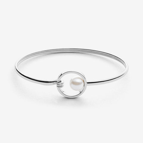 Agnethe Silver-Tone and Pearl Clasp Bangle