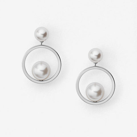 Agnethe Silver-Tone and Pearl Drop Earrings