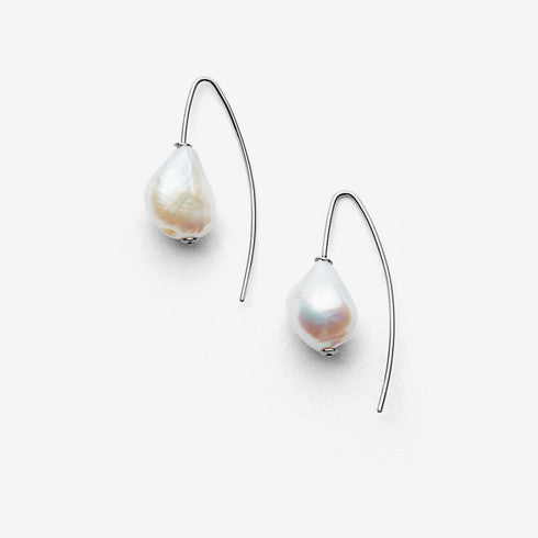 Agnethe Silver-Tone and Baroque Pearl Threader Earrings