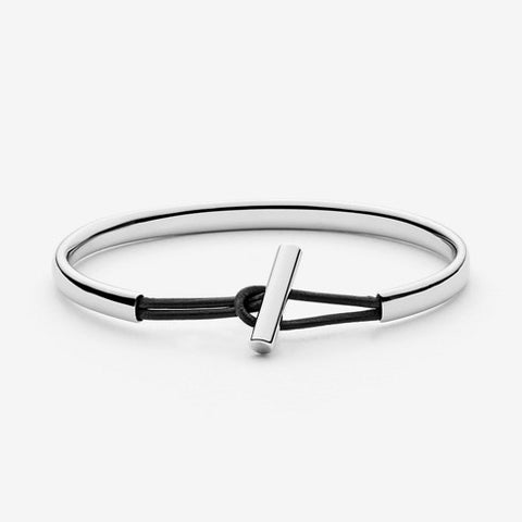 Anette Silver-Tone Steel and Leather Bangle