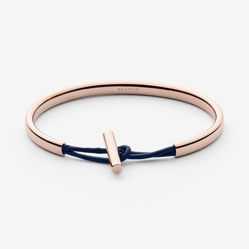 Anette Rose-Gold-Tone Steel and Leather Bangle