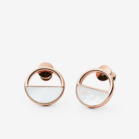 Elin Rose-Gold-Tone and Mother-of-Pearl Stud Earrings