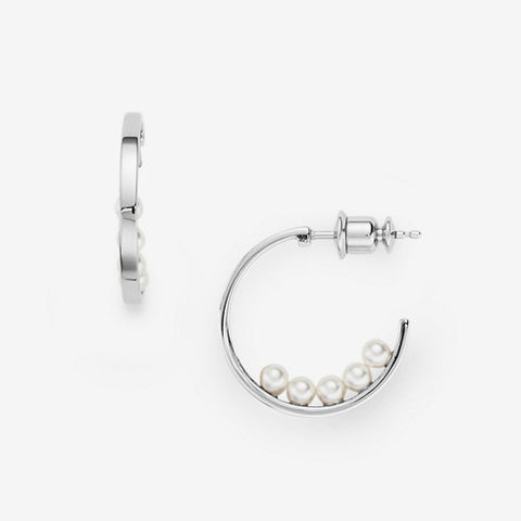 Agnethe Micro-Pearl Silver-Tone Hoop Earrings