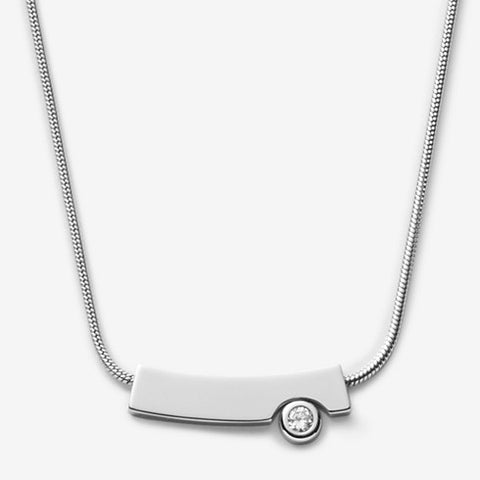 Elin Silver-Tone Crystal Pendant Necklace