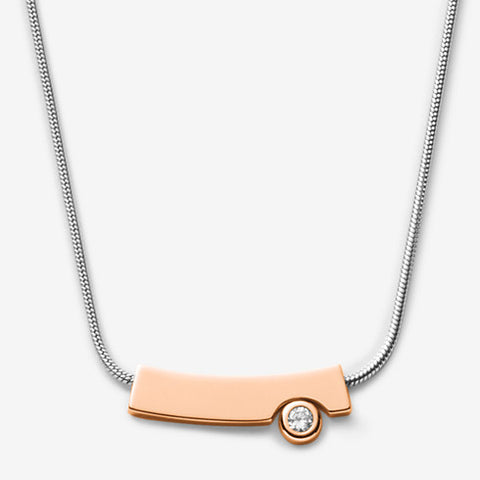 Elin Two-Tone Crystal Pendant Necklace