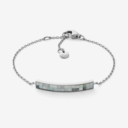 Agnethe Silver-Tone Mother-of-Pearl Mosaic Bracelet