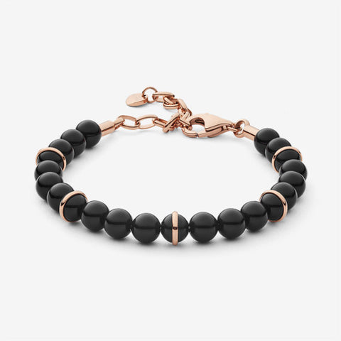 Ellen Rose-Tone and Onyx Beaded Bracelet