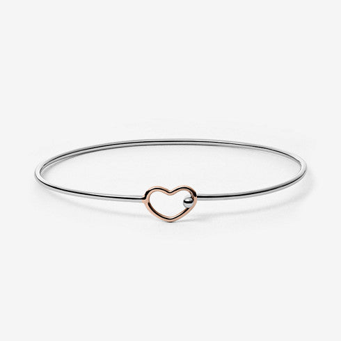 Katrine Two-Tone Heart Bangle