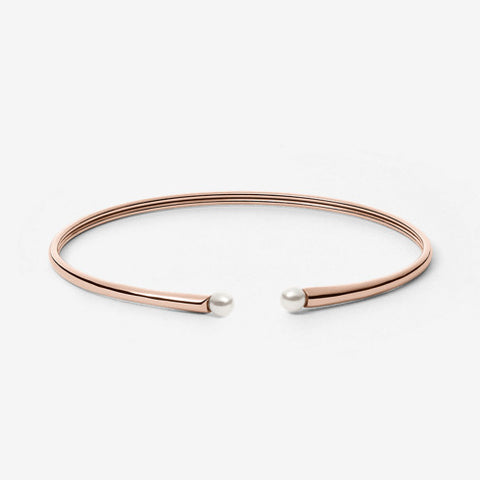 Agnethe Rose Gold-Tone Pearl Bangle