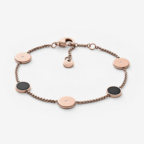 Ellen Rose Gold-Tone and Onyx Bracelet