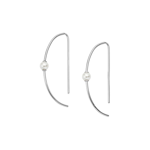 Agnethe Curve Silver Tone Pearl Earrings