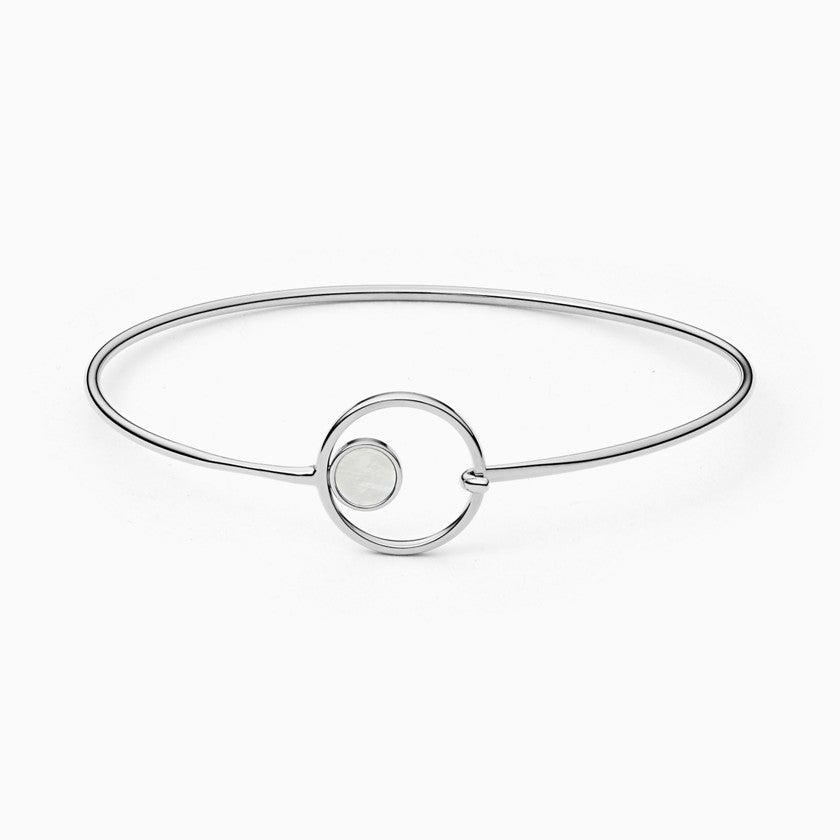Agnethe Silver Tone Mother of Pearl Bangle