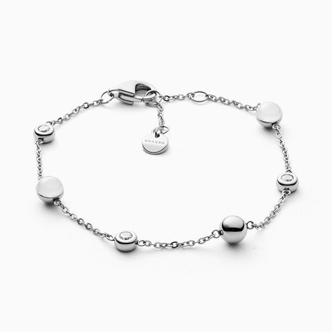 Sea Glass Silver Tone Station Bracelet