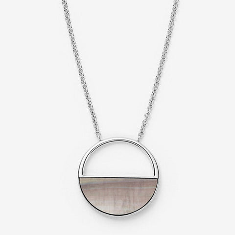Agnethe Silver Tone and Mother of Pearl Short Pendant Necklace