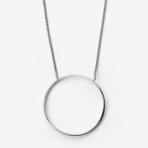 Kariana Silver Tone Circle Pendant Necklace