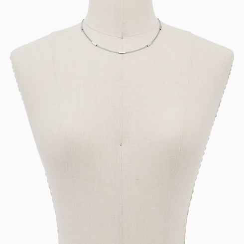Merete Silver Tone Mesh Necklace