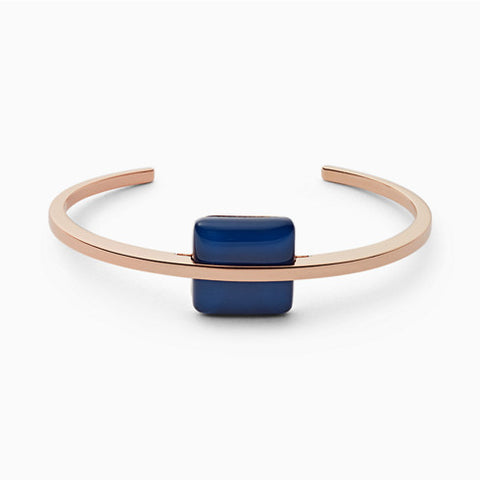 Blue Sea Glass Rose Gold Tone Bangle