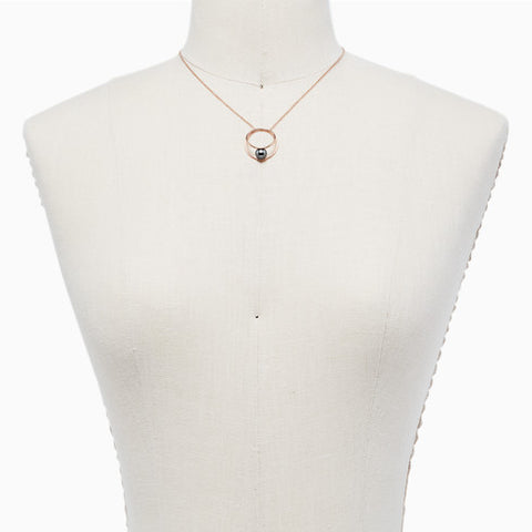 Agnethe Rose Tone Gray Pearl Pendant Necklace
