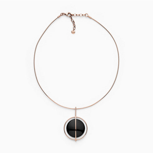 Ellen Onyx and Rose Tone Necklace
