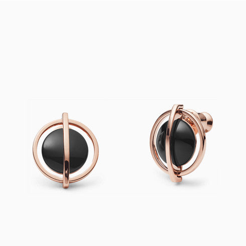 Ellen Onyx and Rose Tone Stud Earrings