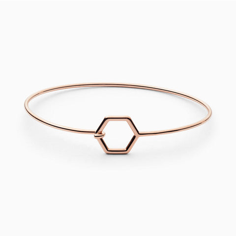 Anette Rose Tone Hexagonal Bangle