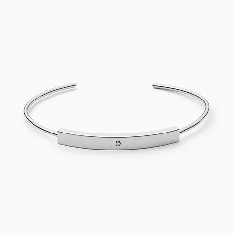 Helena Silver Tone Genuine Diamond Bangle