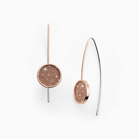 Merete Rose Tone Brilliant Mesh Hook Earrings