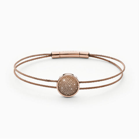 Merete Rose Tone Brilliant Mesh Cable Bracelet