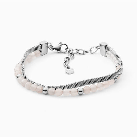 Anette Rose Quartz Beads And Mesh Bracelet