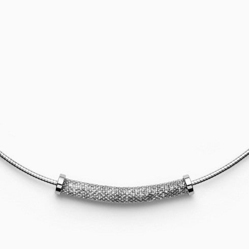 Merete Silver Tone Brilliant Mesh Pendant Necklace