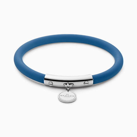 Blakely Blue Silicone and Silver Tone Bracelet