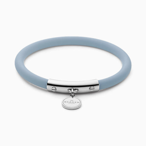 Blakely Light Blue Silicone and Silver Tone Bracelet