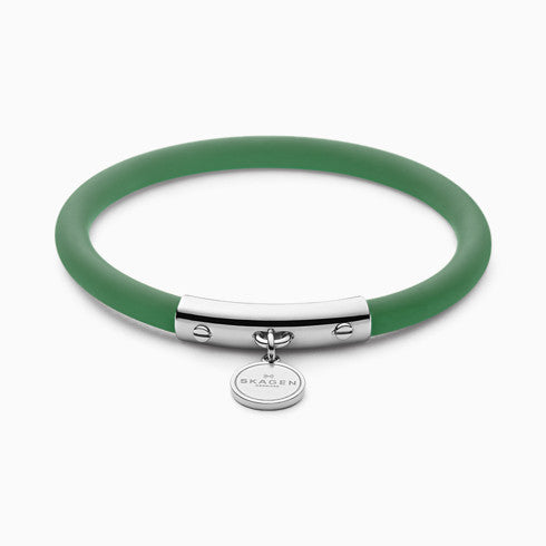 Blakely Green Silicone and Silver Tone Bracelet