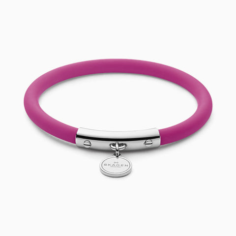 Blakely Pink Silicone and Silver Tone Bracelet